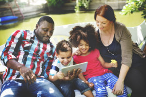 Family Relax Happiness Using Tablet